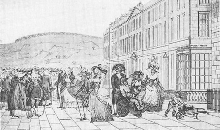 Engraving of the North Parade from the 1909 book Sheridan: From New and Original Material, written by Walter Sichel. The city of Bath became known as a resort town for individuals to parade their own elegance, as portrayed in The Rivals