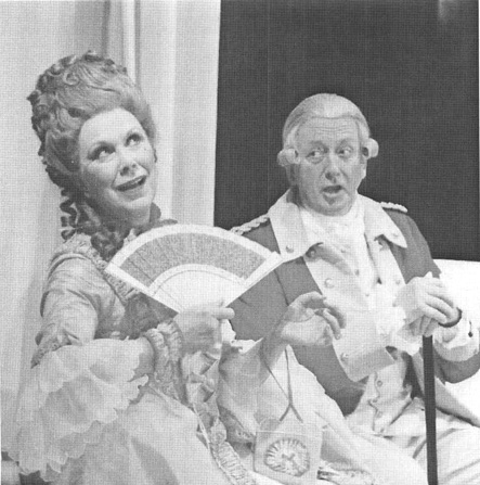 A scene from the 2000 theatrical production of The Rivals, featuring Wendy Craig, as Mrs. Malaprop, and Benjamin Whitrow, as Sir Anthony Absolute