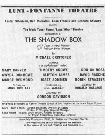 Playbill cast list from the 1977 production of The Shadow Box, directed by Gordon Davidson