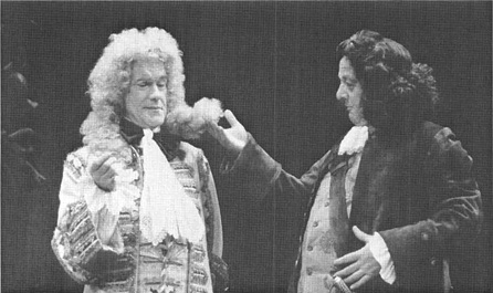 James Grout, as Sir Wilfull Witwoud, and John Moffatt, as Witwoud, in a scene from the 1984 theatrical production of Way of the World, performed at the Theatre Royal in London