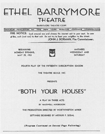 Playbill title page from the 1933 theatrical production of Both Your Houses, performed at the Ethel Barrymore Theatre in New York