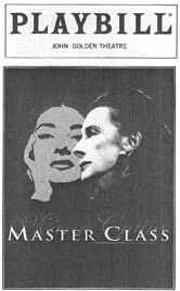 Playbill cover from the 1996 theatrical production of Master Class, directed by Leonard Foglia