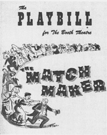 Playbill cover from the 1957 theatrical production of The Matchmaker, directed by Tyrone Guthrie