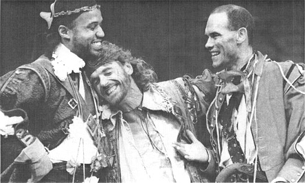 Hugh Quarshie, Jeremy Irons, and Peter Guinness in a scene from the 1986 production of The Rover, performed by the Royal Shakespeare Company and directed by John Barton