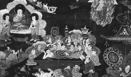 An eighteenth-century Tibetan painting titled Buddha in Nirvana