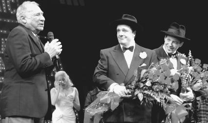 Mel Brooks, Nathan Lane, and Matthew Broderick after the last performance of The Producers at New Yorks St. James Theatre, 2002