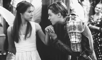 Claire Danes and Leonardo DiCaprio in a 1996 film version of Romeo and Juliet
