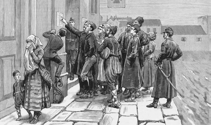 Serbians read a list of the dead and wounded during the Serbo-Bulgarian war in 1885  Hulton-Deutsch CollectionCorbis