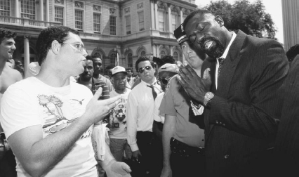 Members of the Jewish Defence League and leaders of the African American community debate after four nights of riots in Crown Heights, Brooklyn, New York  J. A. GiordanoCorbis Saba