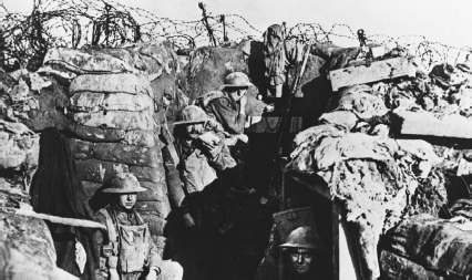 British soldiers of the East Lancashire Regiment in a trench during World War I  Hulton-Deutsch CollectionCorbis