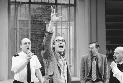 Cornelius Booth, Rhys Ifans, Paul Ritter, and Adrian Scarborough in a 2003 production of Accidental Death of an Anarchist