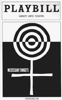 Playbill from a production of Necessary Targets at the Variety Arts Theatre