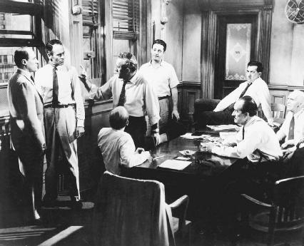 E. G. Marshall, Henry Fonda, Lee J. Cobb, Edward Binns, George Voskovec, Jack Klugman, and Joseph Sweeney in the 1957 film version of Twelve Angry Men