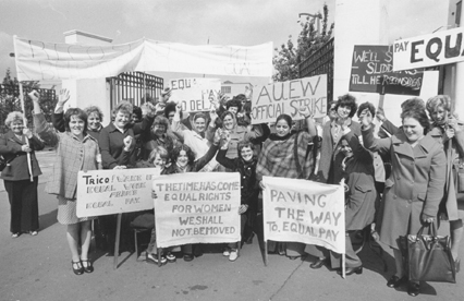 Women picket outside the Trico factory