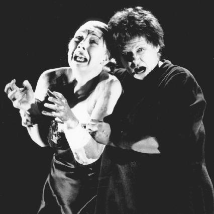 Felicity Palmer, as Clytemnestra, and Janet Hardy as Elektra, in the 1992 Welsh National Opera production of Elektra