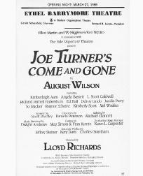 Playbill cast list from the 1988 stage production of Joe Turners Come and Gone, directed by Lloyd Richards