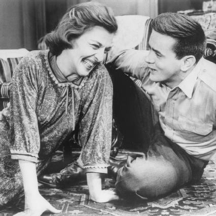 Irene Dailey and Martin Sheen in a scene from the 1965 stage production of The Subject Was Roses