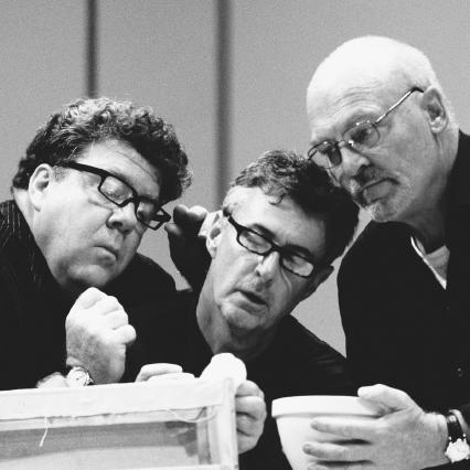 George Wendt, David Dukes, and Stacey Keach in the stage production of Art, performed at the Wyndhams Theatre in London, England