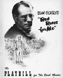 Playbill cover from the 1956 stage production of Red Roses for Me, performed at The Boothe Theatre
