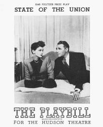 Playbill cover from the 1946 production of State of the Union, performed at the Hudson Theatre