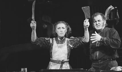 Thomas Allen, as Sweeney Todd, and Felicity Palmer, as Mrs. Lovett, in the 2003 production of Sweeney Todd at the Royal Opera House Covenant Garden London