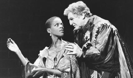 Josette Simon, as Victoria Corombona, and Denis Quilley, as Brachiano, in the 1991 theater production of The White Devil