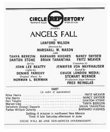 Showbill cast list from Angels Fall
