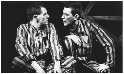 Ian McKellen and Tom Bell in a 1979 stage production of Bent performed at the Royal Court Theatre in London