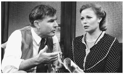 David Burke and Annabel Leventon in the 1982 stage production of Rocket to the Moon performed at the Hampstead Theater in London