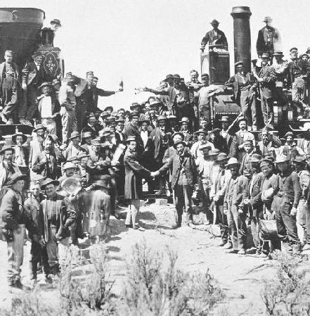 The completion of the transcontinental railroad.