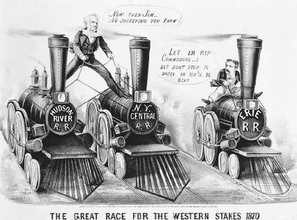 In this political cartoon of the Erie War, Cornelius Vanderbilt and James Fisk race for control of the Erie Railroad.