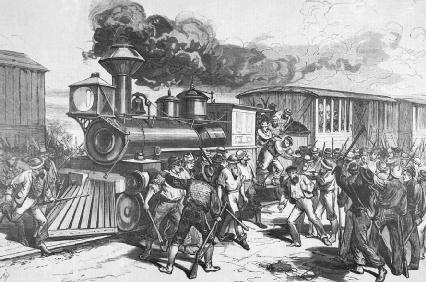 One of the Baltimore  Ohio Railroad strikes of 1877.