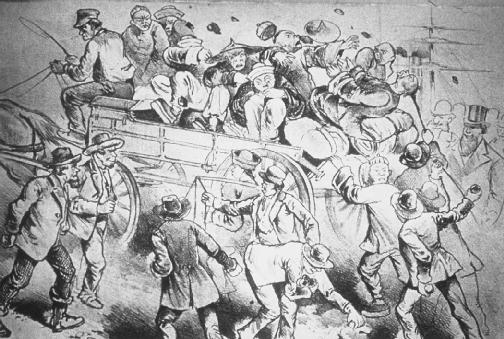 Some Chinese immigrants were attacked as they arrived in San Francisco.