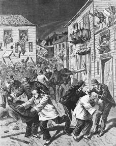 The anti-Chinese riot of 1880, in Denver, Colorado.