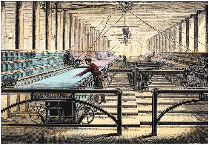 Textile mills used spinning mules, big machines that spun cotton and other fabrics.