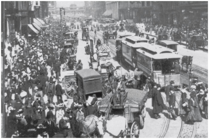 Cities such as Chicago boomed in the late 1800s and early 1900s as workers moved in to take up new industrial jobs.