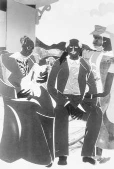 The Family (1988) by Romare Bearden. Family life was a favorite theme of Beardens, and a number of his works bear the title The Family. The work pictured here was completed in the last year of the artists life. THE ESTATE OF ROMARE BEARDEN. REP