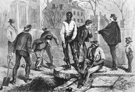 Chain gang in Richmond, Virginia. Under President Andrew Johnsons post-Civil War reconstruction government, black codes were used in an attempt to preserve some remnant of the status quo. Vagrancy laws targeted at former slaves forced them, lik