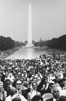 March on Washington, August 28, 1963. With the Washington Monument in the background and facing the Lincoln Memorial, a crowd of more than 200,000 gathers on the mall in Washington, D.C. to hear Martin Luther King Jr. speak.  FLIP SCHULKE/CORBI