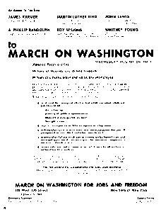 Flyer for the March on Washington, August 28, 1963. COURTESY OF MICHIGAN STATE UNIVERSITY LIBRARIES, SPECIAL COLLECTIONS