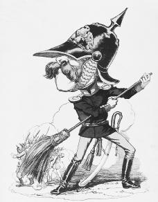 French caricature of Otto von Bismarck. In this Franco-Prussian Warera cartoon, Bismarck is shown prodding reluctant German soldiers to attack the French. The legend has Bismarck saying: Lets go! Go or Die! Faster than that or the French will e