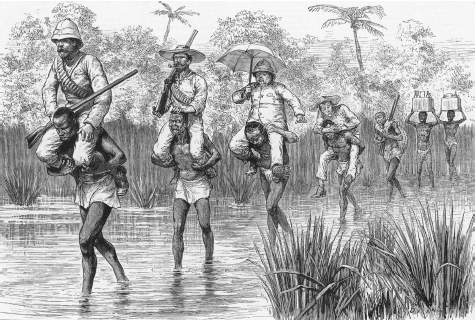 British officers are carried across a shallow river by Africans. Engraving from The Graphic, 1890. MARY EVANS PICTURE LIBRARY