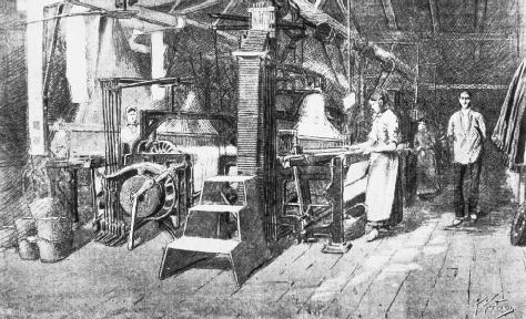 Steam-powered loom in a woolen mill. From the Catalan llustrated, 5 June 1888. PRIVATE COLLECTIONBRIDGEMAN ART LIBRARYINDEX