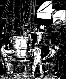 Krupps Bessemer machine. Engraving by Robert Engels from the book Krupp 18121912, published for the Krupp centennial. The converter apparatus developed by Sir Henry Bessemer improved the process of steel manufacture in the mid-nineteenth centur