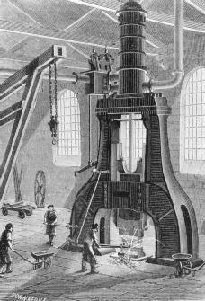The Le Creusot power hammer. Engraving c. 1880. Developed in 1876 by engineers working for the iron foundry at Le Creusot, France, the massive power hammer allowed the Le Creusot facility to dominate the industry. It was displayed at the Univer