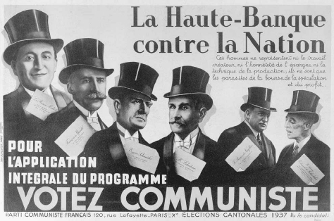 """French Communist election poster, 1937. Members of the most prominent banking families in France are declared to be """"against the nation."""" BRIDGEMAN ART LIBRARY"""