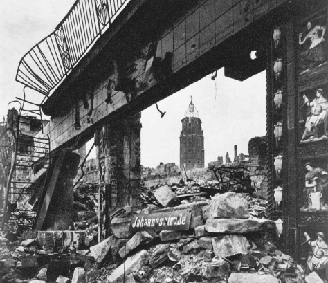 Ruins of Johannesstrasse, Dresden, Germany, following bombing by Allied planes, 1945. LIBRARY OF CONGRESS