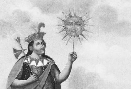 Manco Capac, first king of the Incas, holding the sun god, Intihis creator according to Inca legend. The Art Archive/Museo Pedro de Osma Lima/Mireille Vautier.