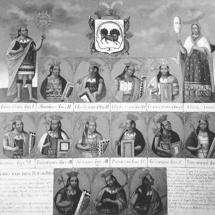 Genealogy of Inca rulers (from left): Manco Capac, Sinchi Roca, Lloque Yupanqui, Mayta Capac, Capac Yupanqui, Inca Roca, Yahuar Huaca, Viracocha, Pachacutec, Tupac Yupanqui. The Art Archive/Museo Pedro de Osma Lima/Mireille Vautier.