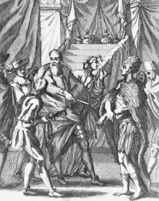 Illustration of Francisco Pizarro imprisoning the Inca ruler Atahuallpa.  Bettmann/Corbis.